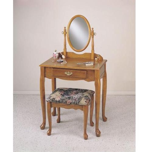 Powell Furniture - Nostalgic Oak Vanity, Mirror & Bench (G) - C53