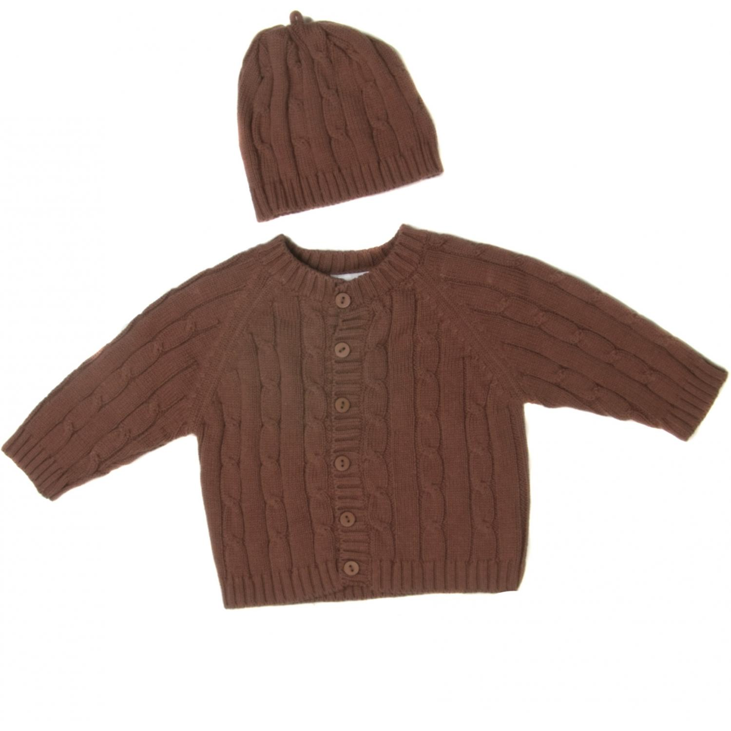 Elegant Baby Cable Knit Sweater Box Set 6 Months - Chocolate Brown
