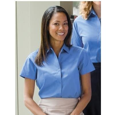Port Authority Ladies Easy Care Short Sleeve Shirt Small - Mediterranean Blue/Mediterranean Blue