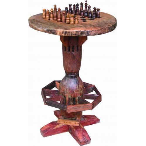 Groovy Stuff Santa Fe Teak Wood Pub / Lounge Chess Table - TF-602