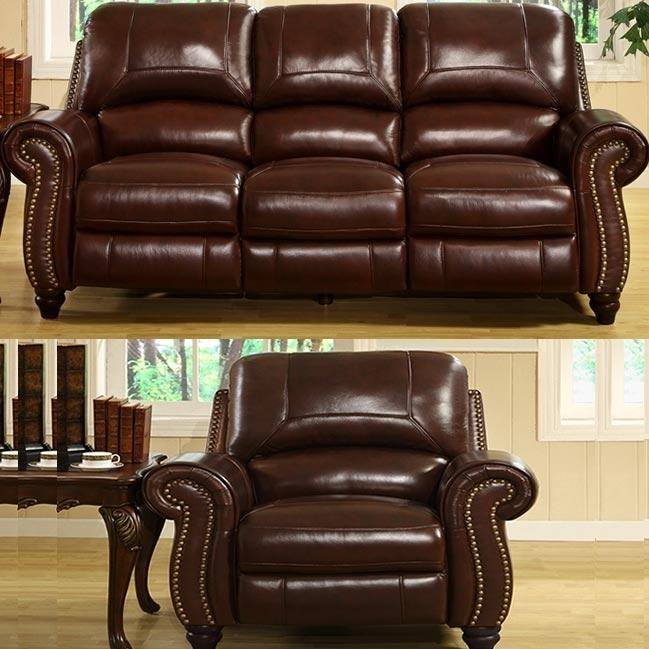 Abbyson Living Madison Leather Pushback Reclining Sofa And Chair Set - CH-8857-BRG-3/1
