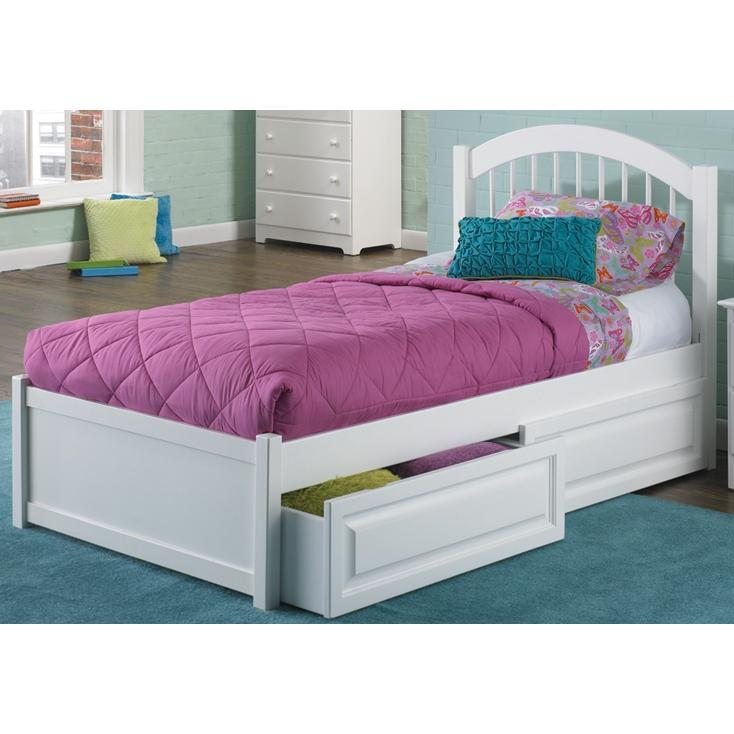 Atlantic Furniture 1022210 Windsor Twin Bed Flat Panel Footboard Style White