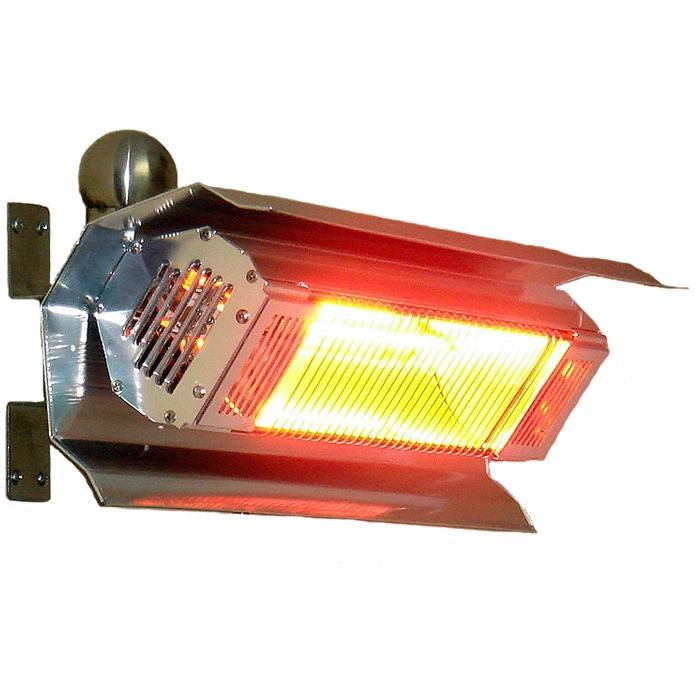 Fire Sense 1500 Watt Wall Mounted Electric Infrared Patio Heater - Stainless Steel