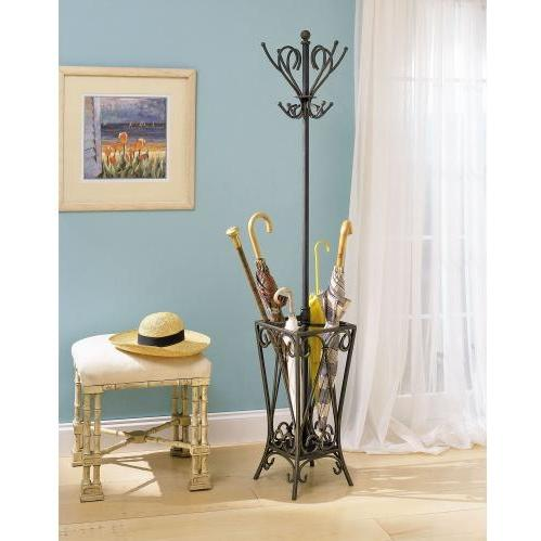 Powell Furniture - Garden District Matte Black With Gold Coat Rack With Umbrella Stand - 935-384