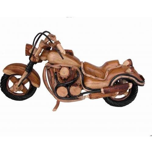 Groovy Stuff Teak Wood Motorcycle 20 Inches - W-774-B-20