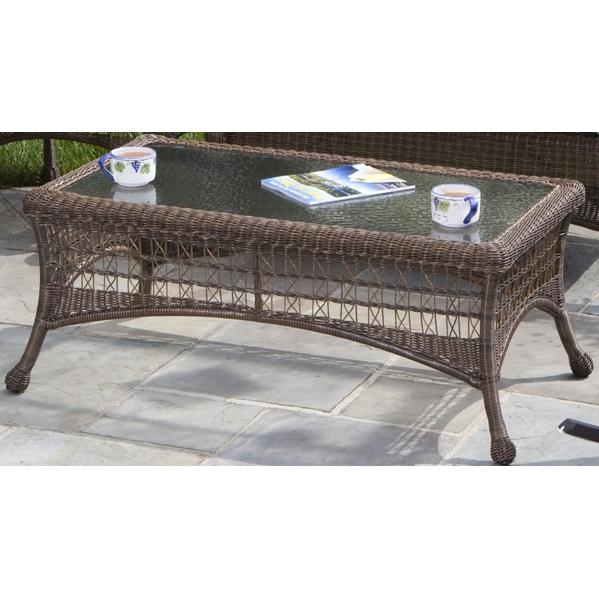 Alfresco Home Cayman Rectangular Coffee Table With Recessed Glass Top - Coconut