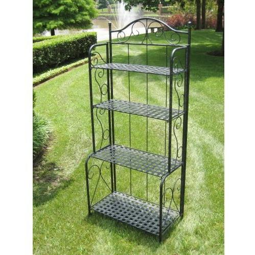 Iron Folding Outdoor Bakers Rack - Antique Black - 3472-EP