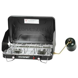 Stansport Two Burner Piezo Stove With Drip Pan