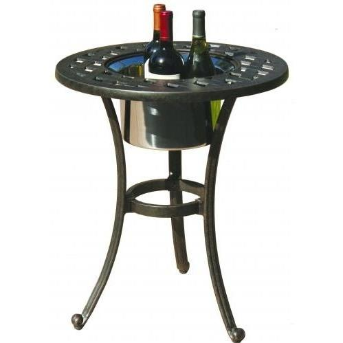 Darlee Series 30 Cast Aluminum Outdoor Patio End Table With Ice Bucket Insert - 21 Inch Round - Antique Bronze