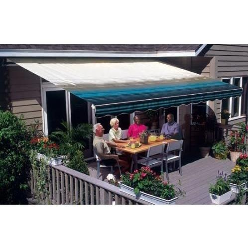 Sunsetter Pro Motorized Awning (12 Ft / Blue Stripe) With Traditional Laminated Fabric With Left Mounted Moter And Soffit Bracket