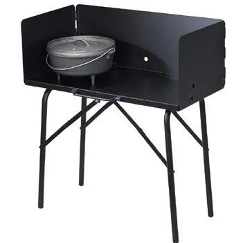Lodge Camping Dutch Oven Cooking Table With Tall Windscreen - A5-7