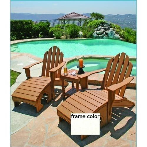 Eagle One Recycled Plastic Adirondack Chair, Foot Stool And Lexington End Table - White