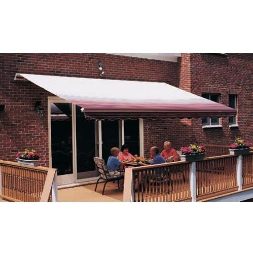 Sunsetter Pro Motorized Awning (18 Ft / Burgundy Stripe) With Traditional Laminated Fabric With Right Mounted Motor And Wall Bracket