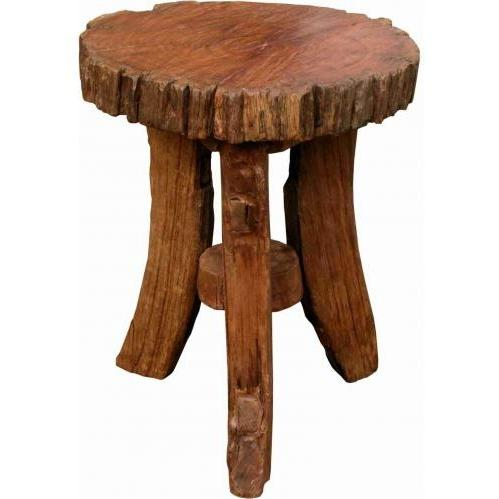 Groovy Stuff Golden Brown Prairie Teak Wood Side Table - 18 Inch - TF-229-B-18