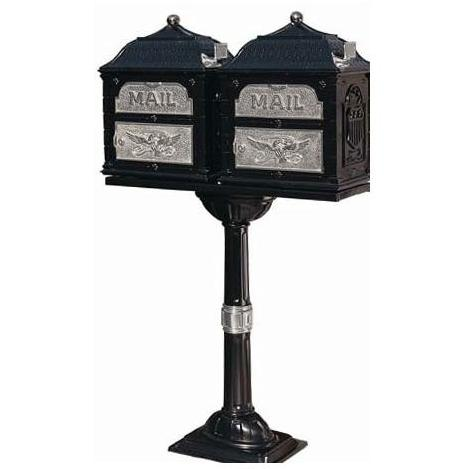 Classic Series Double Mount High Security Locking Mailbox W/ Pedestal - Black W/ Satin Nickel