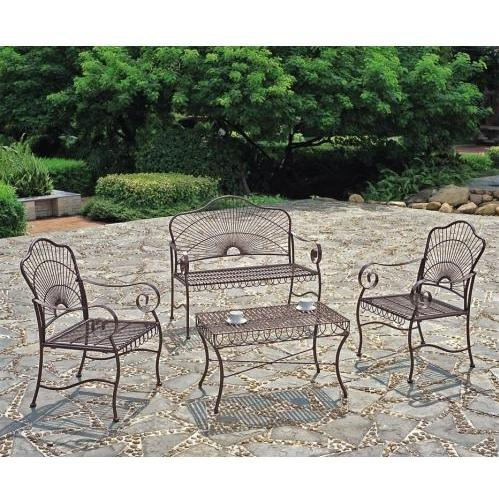 International Caravan S/4 Sunray Settee Patio Lounge Set - Bronze - 3481