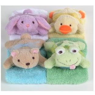 4 Piece Washcloths W/ Puppets Set
