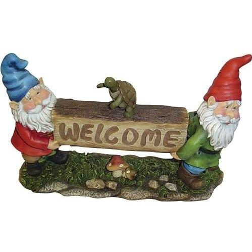 Alpine Gnome Welcome Sign Statuary