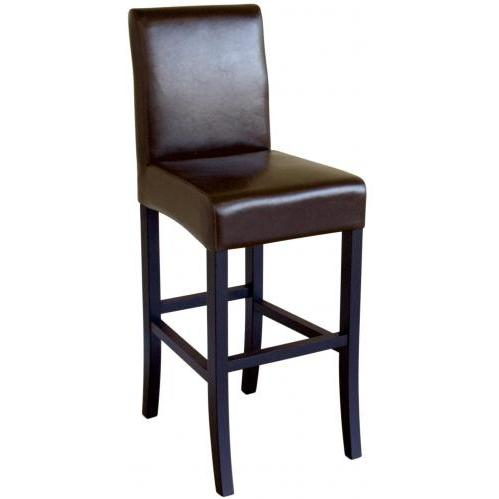 Siany Leather Barstool In Dark Brown