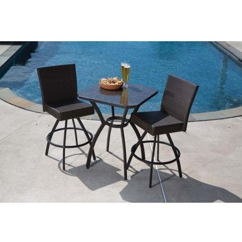 Alfresco Home Vento Granite Top Wicker Outdoor Bar Set - 29.5 Inch Square