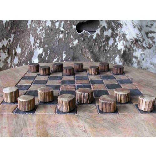Groovy Stuff Small Teak Wood Checker Set - W-872-S