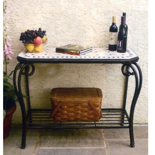 Alfresco Home Compass Outdoor Small Hex Sideboard Table - 39 Inch