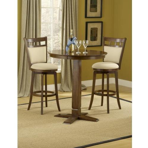 Hillsdale Dynamic Designs 3 Piece Pub Table Set With Jefferson Stools - 4975PTBBRNS2JF