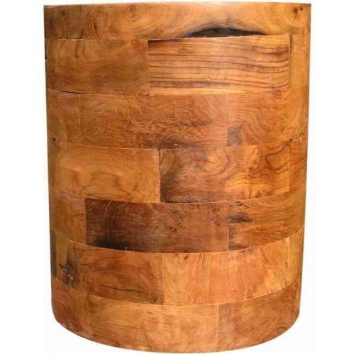 Groovy Stuff Round Bahamas Teak Wood Block Side Table - TF-630