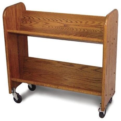 Rol-Rack Walnut Stain Oak-Tilted Shelves