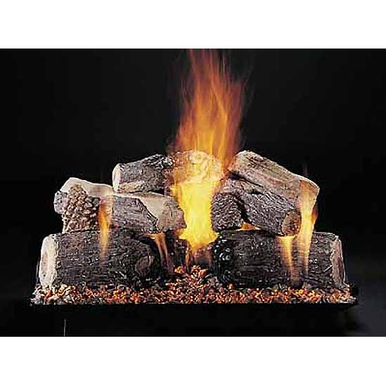 Rasmussen 24 Inch Evening Lone Star Gas Log Set With Vented Natural Gas Custom Embers Pan Burner - Remote Ready Safety Pilot