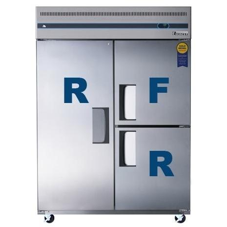 Everest ESWQ3 52.0 Cu. Ft. Capacity Tri Solid Door Upright Reach-In Refrigerator & Freezer Combo - Stainless Steel