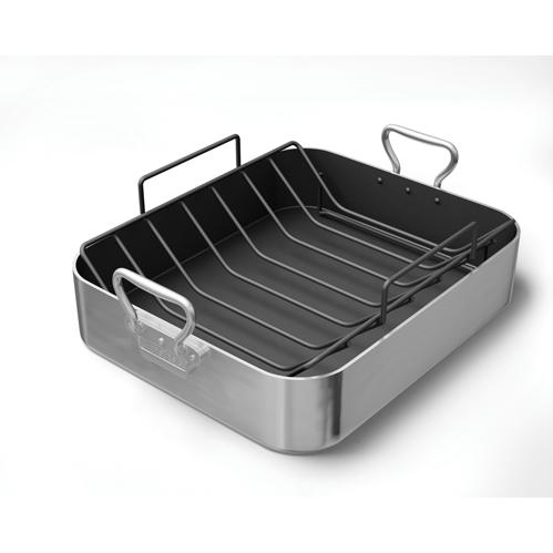 Chefs Design Zephyr Series Cookware Aluminum French Roaster With Non-Stick Interior & Wire Roasting Rack