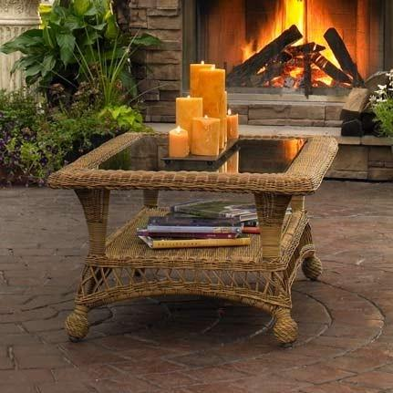 Outdoor GreatRoom Company Wicker End Table W/ Glass Top
