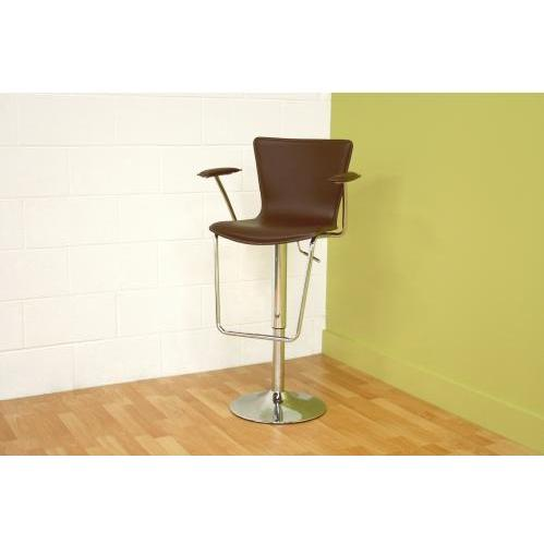 Rumenea With Arm Leather Adjustable Barstool In Brown
