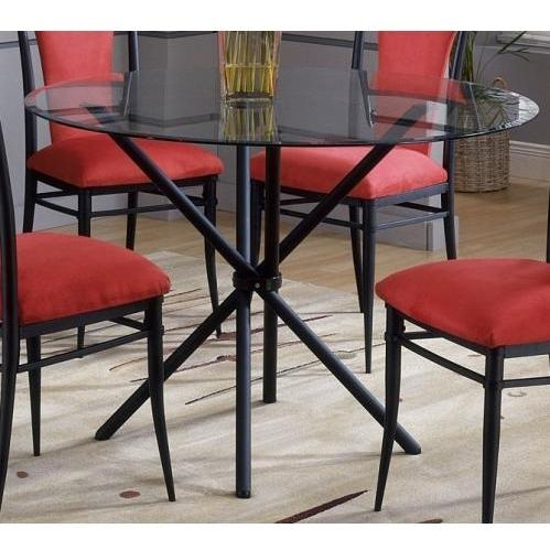 Hillsdale Cierra Casual Round Dining Table With Glass Top - Black - 4637dtb