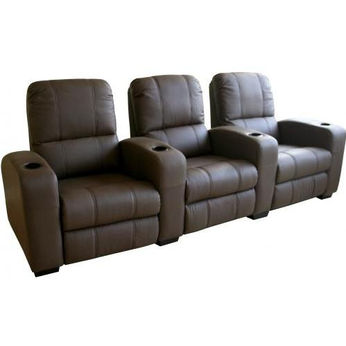 Treacy Leather Home Theater Recliner Set Of Three InBrown