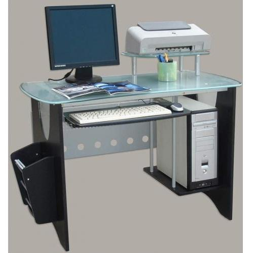 International Caravan Glass Top Desk With Side Mag Rack & CPU Holder Black - G-120/BK
