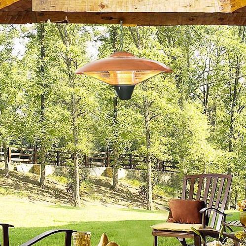 Fire Sense 700/800/1500 Watt Hanging Electric Halogen Patio Heater - Copper