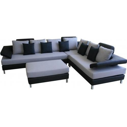 Sierra Fabric/Leather 4-pcs Sofa Set In Blue/Black