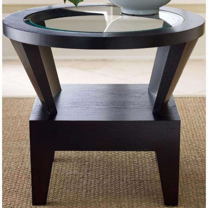 Abbyson Living Florence Round Glass End Table Espresso FR-7010-0230