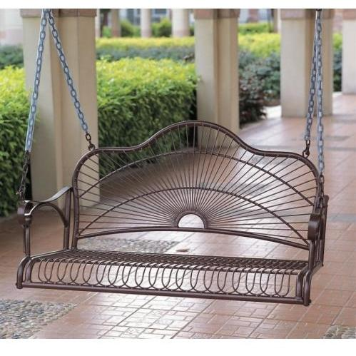 International Caravan Sun Ray Iron Porch Swing - Bronze - 3484