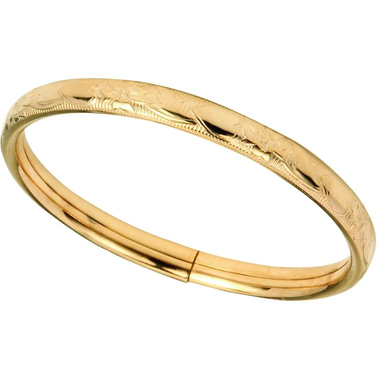 Elegant Baby Infant Gold Flower Etched Bangle Bracelet