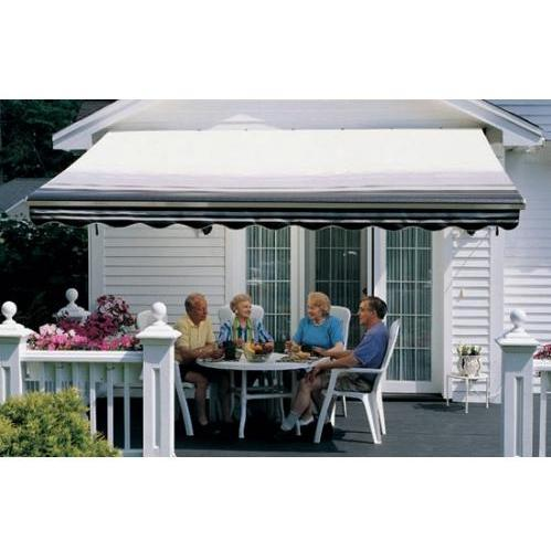 Sunsetter Pro Motorized Awning (12 Ft / Black Stripe) With Traditional Laminated Fabric With Right Mounted Motor And Wall Bracket