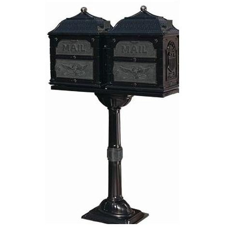 Classic Series Double Mount High Security Locking Mailbox W/ Pedestal - Black W/ Verde Brass