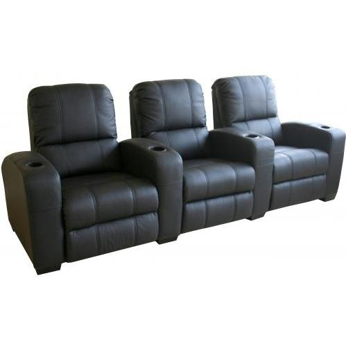 Treacy Leather Home Theater Recliner Set Of Three InBlack