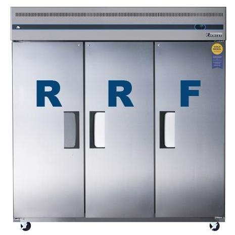 Everest ESRF3 68.0 Cu. Ft. Capacity Dual Solid Door Upright Reach-In Refrigerator & Freezer Combo - Stainless Steel