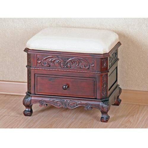 International Caravan Carved Wood Upholstered Vanity Stool With Drawer - 3872