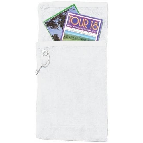 Cobra Caps Bi-Fold Golf Towel With Pocket - White