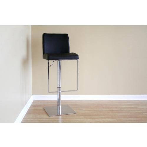Roy Mid-back Leather Adjustable Barstool In Black