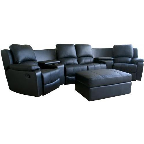 Tavis Leather Curved 7-pcs Home Theater Sectional In Black